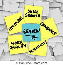 föreställning granska, klistrig anteckningar, inställning, uppförande, arbete, kvalitet, pr