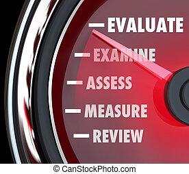 föreställning granska, utvärdering, hastighetsmätare, mätare