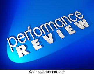 föreställning granska, vit, 3, ord, blåttbakgrund