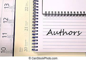 författare, skriva, på, anteckningsbok