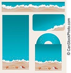 förgrena, design, strand, tema