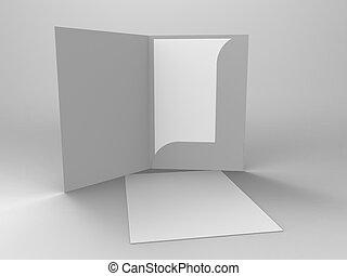 förgrena, stillastående, 3, render, folde
