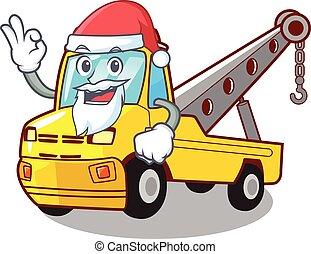 förgrena, tecken, bogsering transportera, jultomten, fordon