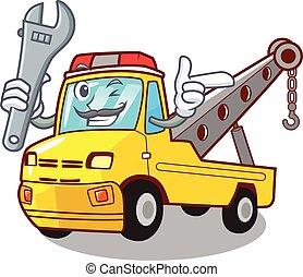 förgrena, tecken, bogsering transportera, mekaniker, fordon