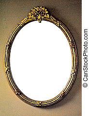 förgyllt, ram, spegel