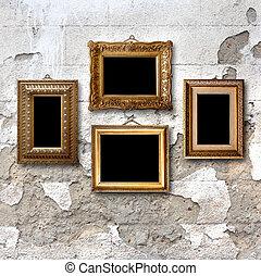 förgyllt, sten, gammal, trä, bilder, vägg, inramar