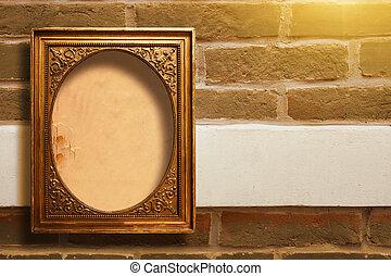 förgyllt, tegelsten, gammal, trä, bilder, väggen inramar