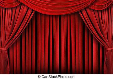 förhänge, teater, abstrakt, bakgrund, röd, arrangera