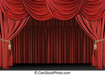 förhänge, teater, bakgrund, arrangera