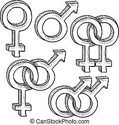 förhållande, kön symboler, skiss
