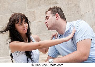 förhållande problem, par, -, ung, utomhus