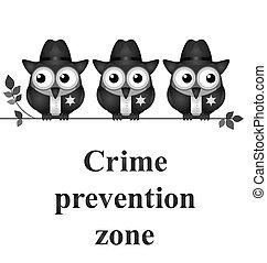 förhindrande, zon, brott
