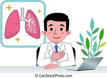 förklarande, lungan, läkare