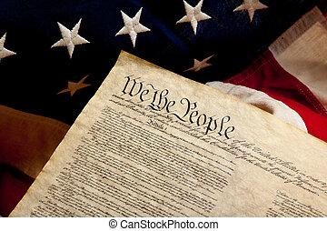 förklaring av självständighet, och, amerikan flagga