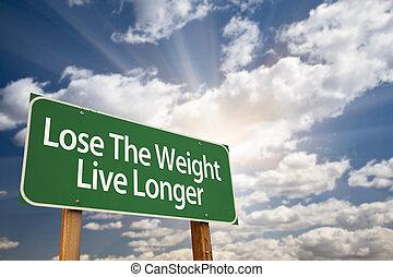 förlora, den, vikt, levande, longer, grön, vägmärke