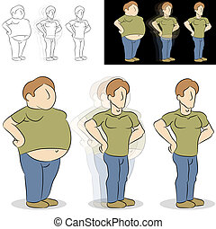 förlorande, transformation, vikt, man