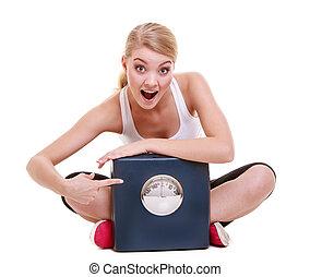 förlust, kvinna, prålig, vikt, bantning, tid, väga, lycklig