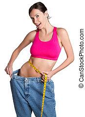 förlust, kvinna, vikt