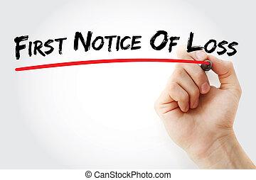 förlust, märka, hand, markör, skrift, första