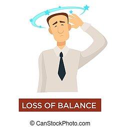 förlust, sjukdom, slag, tecken, svindel, balans, förhindrande