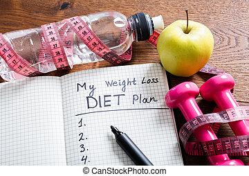 förlust, vikt, begrepp