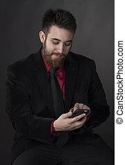 förmlichkeit, telefon, lächelnden mann, kleidung