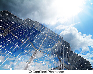 förnybart, alternativ, sol energi, affär