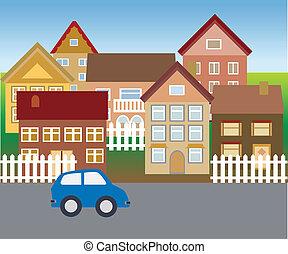 förorts-, hemmen, in, tyst, grannskap