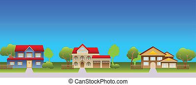 förorts-, hus, in, grannskap