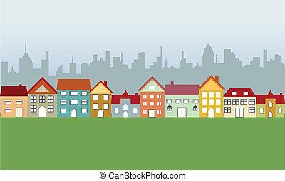 förorts-, hus, och, stad