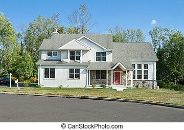 förorts-, pennsylvania, philadelphia, hus, nymodig, familj, singel