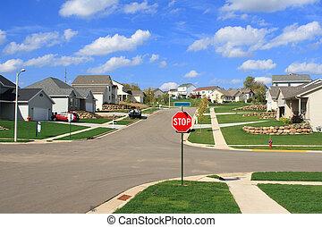 förorts-, underavdelning, bostads, hemmen, färsk