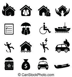 försäkring, ikon, sätta