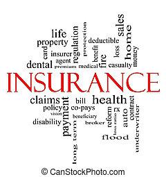 försäkring, ord, moln, begrepp, in, röd, och, svart