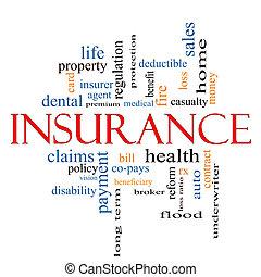 försäkring, ord, moln, begrepp