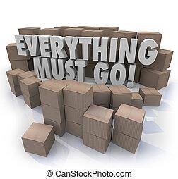 försäljning, allt, rutor, inventarium, gå, stängning, ...