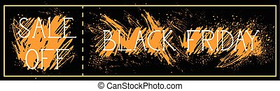 försäljning, av, svart, fredag, affisch, bakgrund, grunge, måla, stänka ner, helgdag, rabatt, horisontal, baner, design
