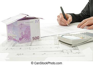 försäljning, avtal, hus, underteckna