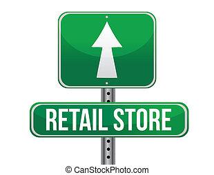 försäljning butiken, vägmärke