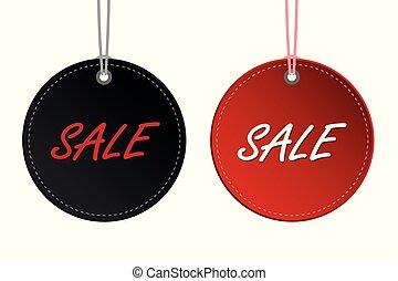 försäljning, etikett, rabatt, svart, hängande, befordran, runda, röd