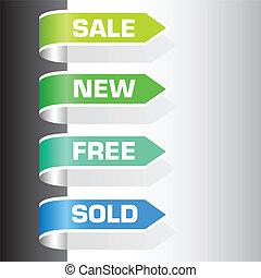 försäljning, etiketter