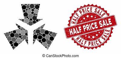 försäljning, grunge, pris, stämpel, pilar, krympa, halvt, ...
