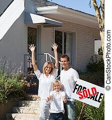 försäljning, hus, främre del, familj