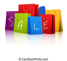 försäljning, inköp, bags., begrepp, av, discount., vektor, illustration