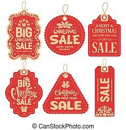 försäljning, jul, märken