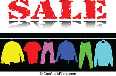 försäljning, klädsel färga, illustration