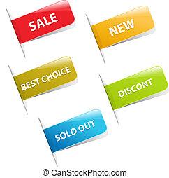 försäljning, klistermärken