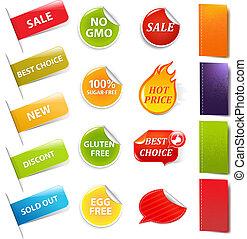 försäljning, klistermärken, och, etiketter