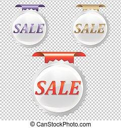 försäljning, klistermärken, sätta