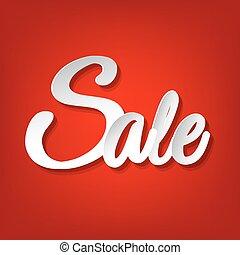 försäljning, röd, affisch
